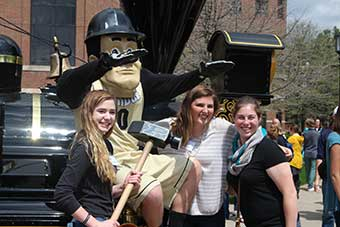 Purdue Pete with Students