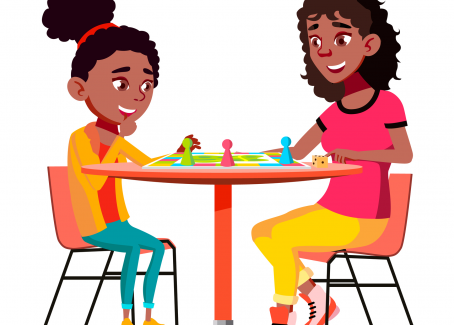 Mom and daughter playing board game