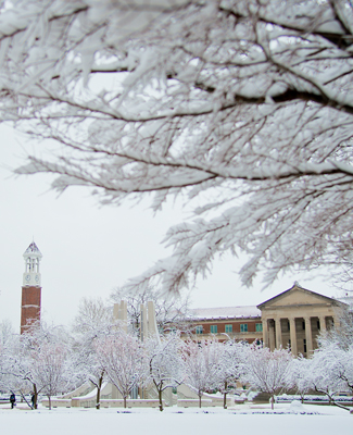 The Bell Tower and Hovde Hall on a brisk snowy day